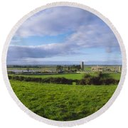 Clonmacnoise, Co Offaly, Ireland Round Beach Towel