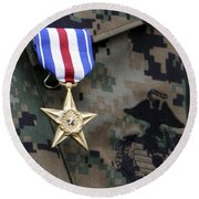 Close-up Of A Medal On The Uniform Round Beach Towel