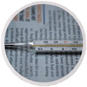 Close Up Of A Thermometer Round Beach Towel