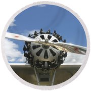 Close-up Of Engine On Antique Seaplane Canvas Poster Print Round Beach Towel