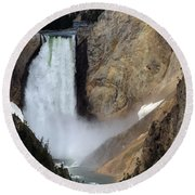 Close Up Of Lower Falls Round Beach Towel