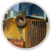 Close Up Of Rusty Truck Round Beach Towel