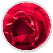 Close Up Of The Petals Of A Red Rose Round Beach Towel