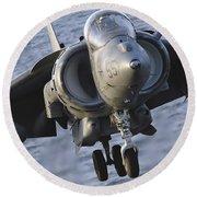 Close-up View Of An Av-8b Harrier II Round Beach Towel
