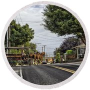 Closed On Sundays - Amish Country Round Beach Towel