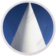Closeup Of Windmill On An Saskatchewan Wind Farm Round Beach Towel