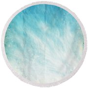 Cloud And Blue Sky On Old Grunge Paper Round Beach Towel