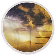 Cloud In Sunset On Postcard Round Beach Towel by Setsiri Silapasuwanchai
