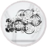 Cloud Made By Gears Wheels  Round Beach Towel