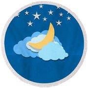 Cloud Moon And Stars Design Round Beach Towel