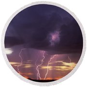 Cloud To Ground Lightning At Sunset Round Beach Towel