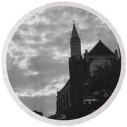 Clouded Places Round Beach Towel