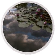 Clouded Pond Round Beach Towel