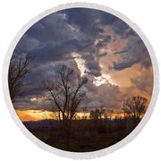 Clouded Sunset Round Beach Towel