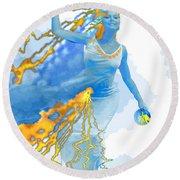 Cloudia Of The Clouds Round Beach Towel