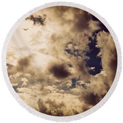 Clouds-8 Round Beach Towel