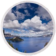 Clouds Above Crater Lake Round Beach Towel