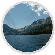 Clouds Above Emerald Bay Round Beach Towel