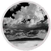 Clouds Above White Sands Round Beach Towel