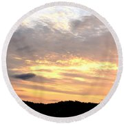 Clouds Afire Round Beach Towel