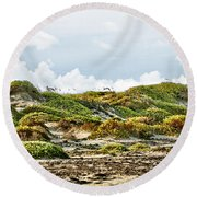 Clouds And Dunes Round Beach Towel