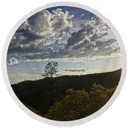 Clouds At Sunset II Round Beach Towel