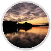 Clouds Going Away At Sunrise Round Beach Towel
