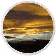 Clouds Illuminated At Sunset Round Beach Towel