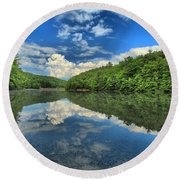 Clouds In The Lake Round Beach Towel by Adam Jewell