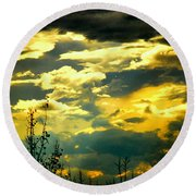 Clouds Of Many Colors Round Beach Towel