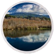 Clouds On The Klamath River Round Beach Towel