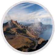 Clouds On The Ridge Round Beach Towel
