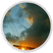 Clouds Over A Tomb, Poulnabrone Dolmen Round Beach Towel