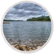 Clouds Over The American River Round Beach Towel