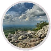 Clouds Over The Cliff Round Beach Towel