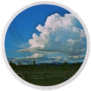 Clouds Over The North Forty Round Beach Towel