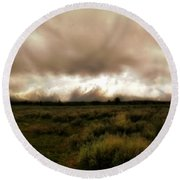 Clouds Over The Tetons Round Beach Towel