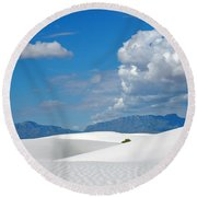 Clouds Over The White Sands Round Beach Towel