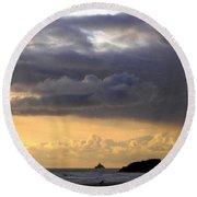 Clouds Over Tillamook Lighthouse Round Beach Towel