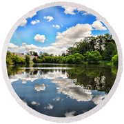 Clouds Reflection On Water Round Beach Towel