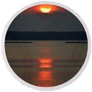 Cloudy Bay Sunset Round Beach Towel