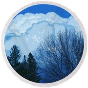 Cloudy Blue Dream Round Beach Towel