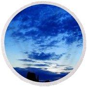 Cloudy Blue Monument Round Beach Towel