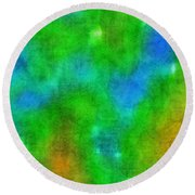 Cloudy Green And Blue Round Beach Towel