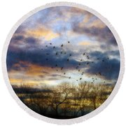 Cloudy Sunset With Bare Trees And Birds Flying Round Beach Towel