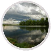 Cloudy With A Chance Of Paint 1 Round Beach Towel
