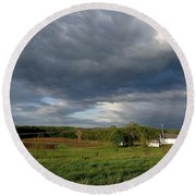 cloudy with a Chance of Paint 2 Round Beach Towel