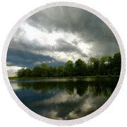 cloudy with a Chance of Paint 4 Round Beach Towel