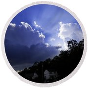 Cloudy With A Chance Of Sunshine Round Beach Towel
