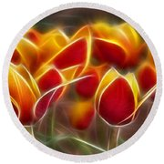 Cluisiana Tulips Fractal Round Beach Towel
